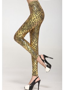 Metallic Scale Veins Legging Gold