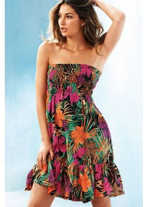 Strapless Tropical Vegetation Beach Cover-up