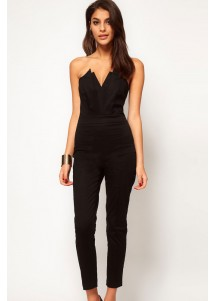 Black Sexy Jumpsuit with Pleated Bust Origami Detail