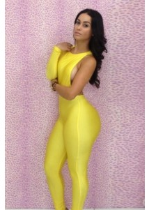 Neon Yellow One-sleeve Hollow out Cut Detail Party Playsuit