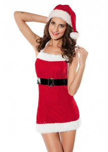 Sexy Santa Mini Dress with hat and belt.
