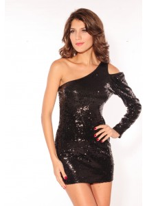 Black Sequin One-shoulder Mini Dress