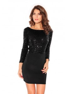 Black Sequin Cowl Dress With Jersey Skirt