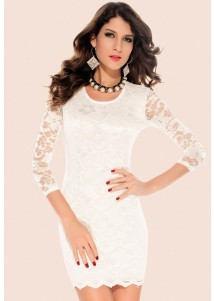 Updated Hollow-out Back Double-deck Lace Dress White