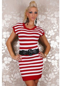 Stuck Sexy Strick Mini Kleid Long Pullover Dress Red