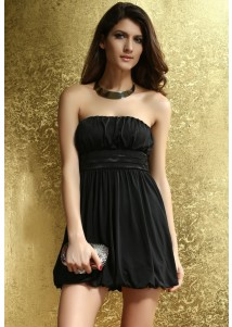 Black Sexy Strapless Prom Mini Dress