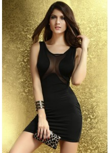 Sexy Bodycon Dress with Mesh Black