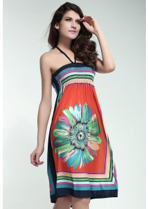 Retro Multicolor Strapless Dress Orange