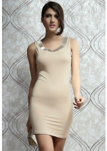 Mocha Silver Jeweled Accent Low Back Sleeveless Dress
