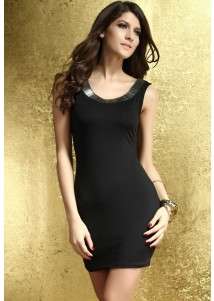 Black  Silver Jeweled Accent Low Back Sleeveless Dress