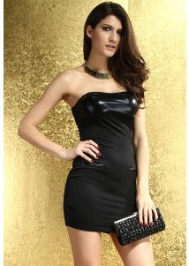 Black Leather Bandeau Bodycon Dress