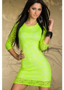 Neon Green Cut-out Lace Cocktail Dress