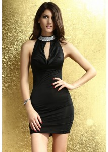 Chic Glittering Rhinestone-Neck Party Dress