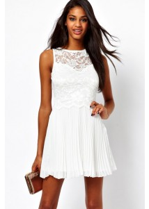 Pure White Lace Skater Dress with Pleated Skirt