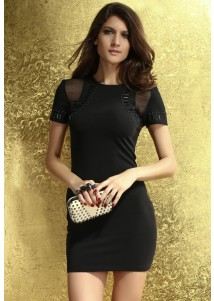 Beaded Embellished and Mesh Body-conscious Dress