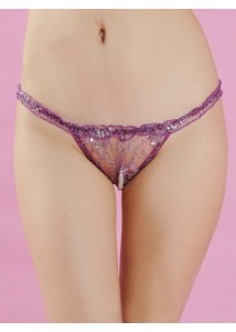 Purple lace see-through sexy Tanga shorts