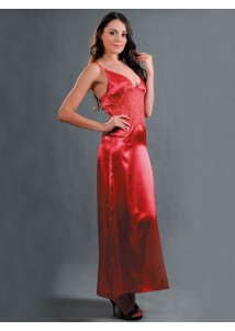 Charming attractive red long sleep dress