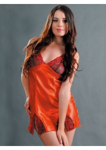 Attractive orange chemise with lace trimmed
