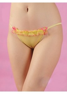 Yellow mesh with ruffle G-string
