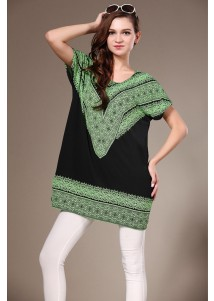 Womens Long Loose Totem Printed Tshirt Short Sleeved Green