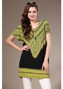 Womens Long Loose Totem Printed Tshirt Short Sleeved Lime