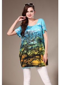 Rhinestone Womens Loose Short Sleeved Tshirt with Tree Painted Blue