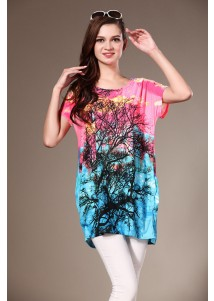 Rhinestone Womens Loose Short Sleeved Tshirt with Tree Painted Pink