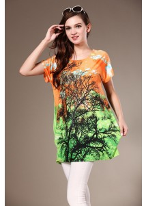 Rhinestone Womens Loose Short Sleeved Tshirt with Tree Painted Orange
