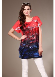 Rhinestone Womens Loose Short Sleeved Tshirt with Tree Painted Red