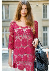 Red Flower Floral Crochet Lace Tops