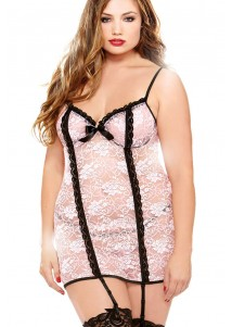 Pink Black Lace Chemise With Garter Belt