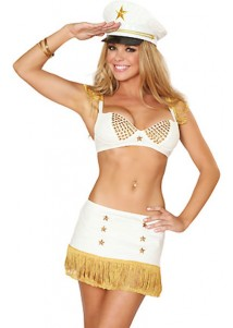 Two-piece White Exclusive Captain Golden Pentagram Costume