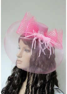 Romantic Pink Net Mini Top Hat With Bows
