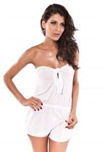 Elegant Strapless Beach Skirt White