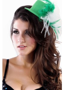 Debonaire Green Mini Hat With White And Green Feathers