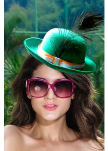 Elegant Green Hat With Peacock Feather