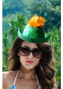 Naughty Green Felt Hat With Clover And Feather