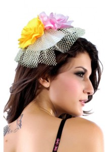 Colorful Hot Hawaii Mini Top-hat With Tricolor Chiffon Flowers Costume Hat