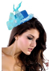 Grazioso Blue Mini Top-hat With Net And Feather Costume Hat
