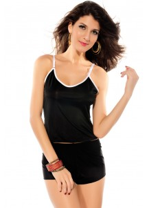 Cute Pink Bow Separate Camisole Panty Camisole Set Black