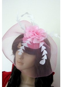 Poetic Pink Mini Top-hat With Feather And Flowers
