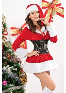 Nifty Stretch Velvet Zipper Front Hooded Mini Christmas Dress