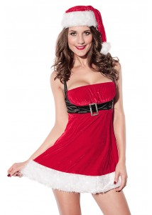 Pretty Christmas Dress in Red with White Fur