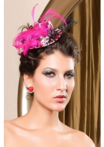 Flowery Pink Leopard Victorian Mini Top Hat With Feather Details