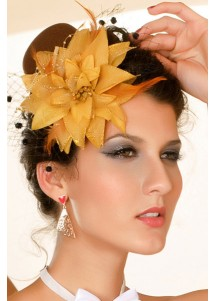 Flowery Brown Mini Top Hat With Gold Flower