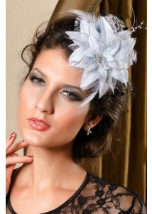 Delicate White Leopard Mini Top Hat With Sliver Flower