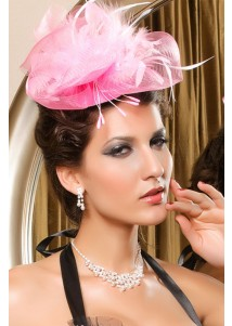 Glowing Pink Victorian Mini Top Hat With Feather And Net