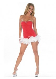 Graceful Sexy Christmas Feathers Tube Mini Dress