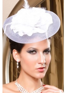 Gracious White Victorian Mini Top Hat With Net And Flower