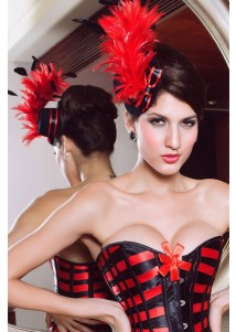 Sexy Black Mini Top Hat With Red Feathers